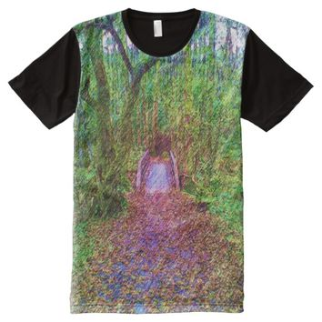 Forest Path with bridge Drawing All-Over-Print T-Shirt