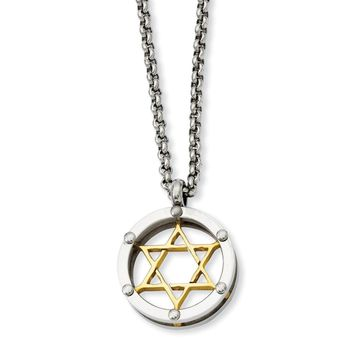 Stainless Steel Polished & Gold IP-plated Star of David Necklace