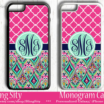 Monogram Hot Pink Aztec iPhone 5C 6 Case 6 Plus iPhone 5s 4 case Ipod 4 5 Touch Cover Jewels Mint Quatrefoil Aqua Pink Personalized