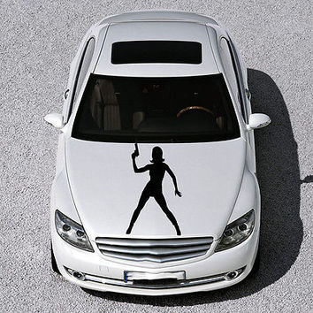 BEAUTIFUL GIRL FIGURE GUN MURALS DESIGN  HOOD CAR VINYL STICKER DECALS SV1007