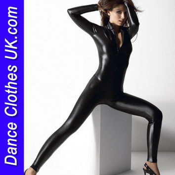 Latest Style Black Spandex/Lycra Zip Front Catsuit -Child Sizes up to 4X Large