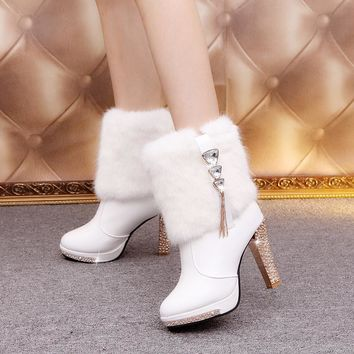 Bling High Heels Rabbit Fur Boots Women Plush Warm Platform Shoes Elegant Crystal Lady Wedding Party High-heeled Shoes