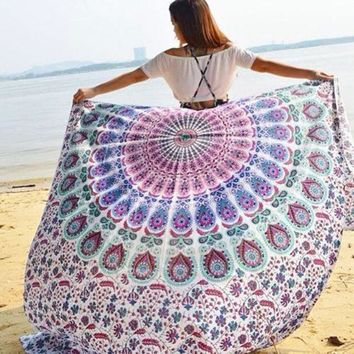 2016 New Fashion Indian Round Mandala Tapestry Wall Hanging Throw Towel Boho Yoga Mat Decor Sun Bath Shawl Tablecloth Home Decor