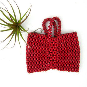 Small Cranberry Red Coin purse coinpurse Vintage Kleenex Makeup Ditty bag women's Tiny Beaded purse Pouch