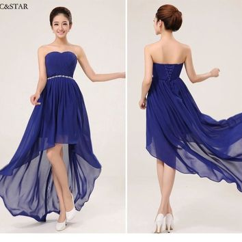 Low Price Promotion !!!  long back short front Purple Royal Blue bridesmaid dress cheap bridesmaid dresses under 50