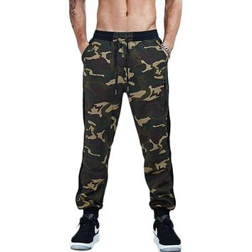 Striped Camouflage Patchwork Jogger Pants