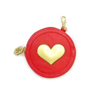 Jonathan Adler Red Leather Circle Coin Purse