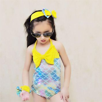 2017 Girls Kid Mermaid Swimmable Bikini Swimwear Swimsuit Swimming Headband Costume One Piece Swimsuit Summer Swimwear Children