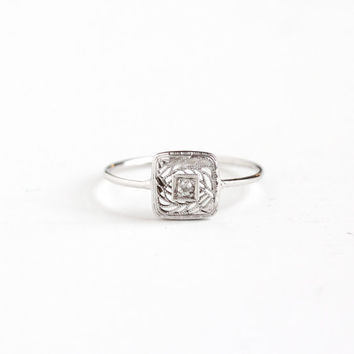 Antique Art Deco 10k White Gold Diamond Ring - Vintage 1920s 1930s Square Stick Pin Conversion Engagement Wedding Fine Embossed Jewelry