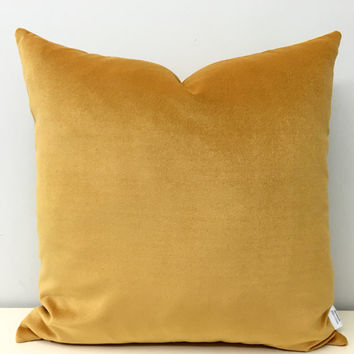Mustard Velvet Pillow Cover, Mustard Pillows, Velvet Pillows, Velvet Pillow, Yellow Velvet Cushion Covers, Mustard Yellow Throw Pillows