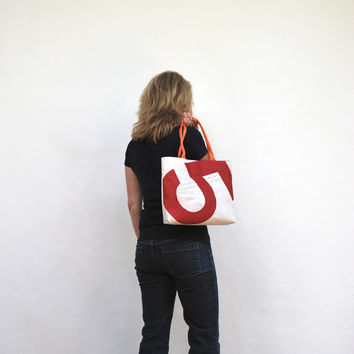 Red Number 5 Upcycled Sail Purse by reiter8 on Etsy