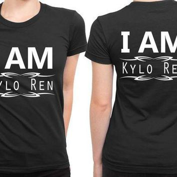 ESBH9S Star Wars The Force Awakens I Am Kylo Ren Black And White 2 Sided Womens T Shirt