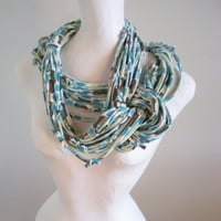 Black Friday Etsy Turquoise Brown Infinity Scarf Upcycled Retro Geometric Pattern Eco Winter Accessories Gifts Under 50  Cyber Monday Etsy