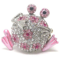 Crystal 'Bling' Adorable Pink Frog Stretch Ring