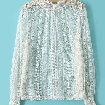 Long Sleeve Funnel Collar Lace Ruffled Top