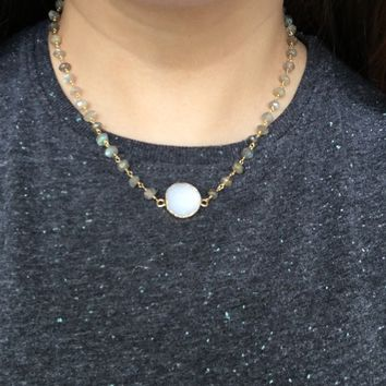 Adaire Druzy with Labradorite Necklace