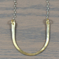 Brass Lucky Horseshoe Necklace with Oxidized Sterling Silver Chain