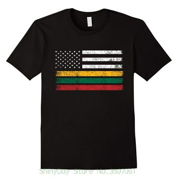 Tee Shirt Hipster Harajuku Brand Clothing T-shirt Lithuanian American Flag - Usa Lithuana Shirt