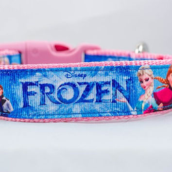 "Pink Frozen 1"" inch wide Dog Collar, buckle or martingale, Elsa, Anna, Olaf, Hans, Kristoff, Disney, cartoon, movie, Sven, ice, snow, girly"