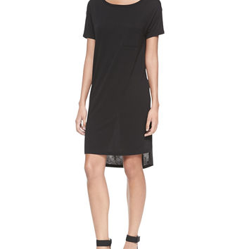 Women's Short-Sleeve T-Shirt Dress with Pocket - T by Alexander Wang - Black