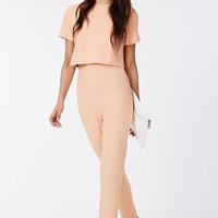 Missguided - Cap Sleeve Double Layer Jumpsuit Blush