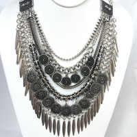 Got It Covered Statement Necklace - Antique Silver