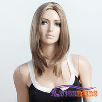 """16"""" long Straight without Bangs Synthetic Wigs for Women Basic Cap Colorful"""