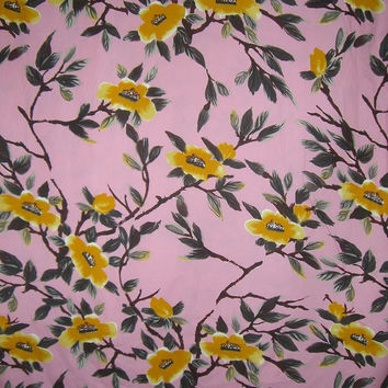 Pink Mustard and Dark Gray Floral Print Stretch Cotton Sateen Fabric--One Yard