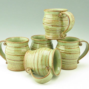 Coffee Mug Singles | Handmade Pottery Spiral Beer Mug | Sturdy Pot Belly Style 16 oz Tea Mug | Key Lime Pie Green Stoneware Soup Mug