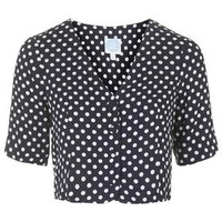 Polka Dot Blouse by Topshop Archive - Navy Blue