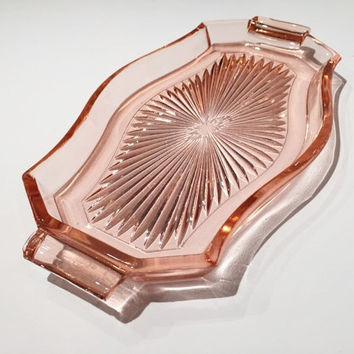 Pink Depression Glass Tray with Handles, Pink Depression Glass Tray with Handles, Retro Kitchen, Vintage Pink Depression Glass Handled Tray
