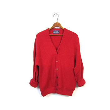 Plain Red 80s Slouchy Cardigan Sweater Grandpa Button Up Sweater UMBRELLA BUTTONS Hipster Boyfriend 1980s Preppy Nerd Oversize Mens Medium