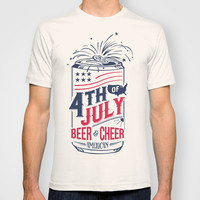 Typography Beer - Fourth of July T-shirt by Thyme
