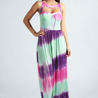 Bella Sweetheart Neck Cut Out Front Maxi Dress