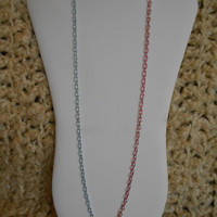 30 inch long Single Pink and Blue Chain Layering Necklace