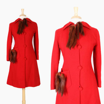 Vintage 40s Red Wool Fit & Flare COAT / 1940s Cherry Red Wool Princess Coat with MINK Tail Trim S