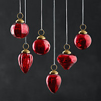 Mini Vintage Hand-Blown Glass Ornament Set of 12 - Red