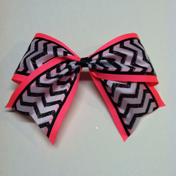 Neon. Chevron Cheer Bow