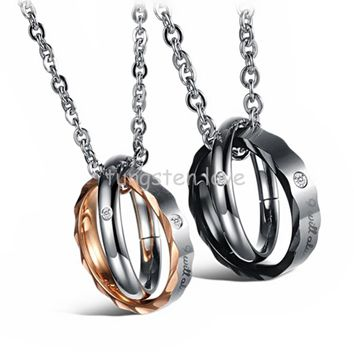 "1 piece Couples Stainless Steel Cz ""I will always be with you"" Double Circles Interlocking Cross Pendant Necklace for Men Women"