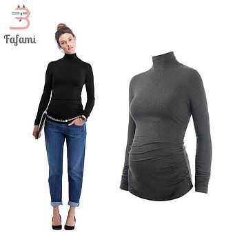 Maternity Clothes Turtleneck Plus size T shirt for pregnant women Tees pregnancy nursing clothes solid tshirt clothing winter