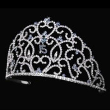 Royal Sweet 15 Quincea?era Silver Headpiece Covered in Clear & Light Blue Rhinestones 251