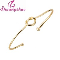 Shuangshuo 2017 Accessory Love Knot Bangle Love Bracelet Simple Knot Cuff Bangles for Women Stretch Bracelets Bangles Gift SZ004