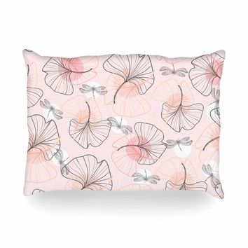 "Mmartabc ""Pattern Flowers And Dragonflies"" Pink Gray Illustration Oblong Pillow"