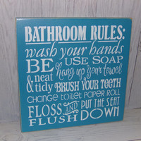 Bathroom Rules Wash Your Hands Sign-Bathroom Sign-Change The Toilet Paper-Painted Wood Sign-Typography-Custom Colors