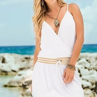 Drawstring Sundress WHITE | Bokeelia Boutique