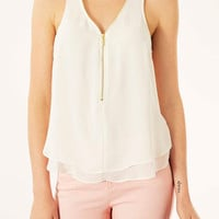 Sleeveless Zip V-neck Top - Tops - Clothing - Topshop USA