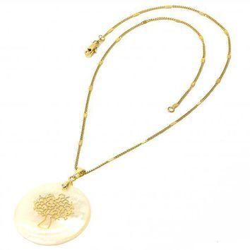 Gold Layered Fancy Necklace, Tree Design, with Mother of Pearl, Golden Tone