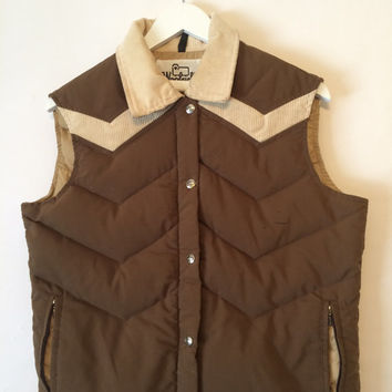 Vintage 70s WOOLRICH Brown and Corduroy Zip and Snap Down Vest Size Large
