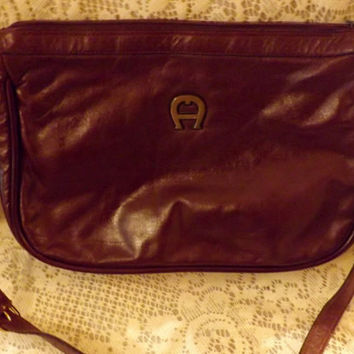 Vintage Etienne Aigner Designer Maroon Leather Handbag Shoulder Bag