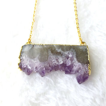 Amethyst Necklace, Amethyst Druzy Slice, Stalactite, Purple Gemstone Necklace, Raw Amethyst Pendant, Boho, Bohemian Necklace on Gold Chain